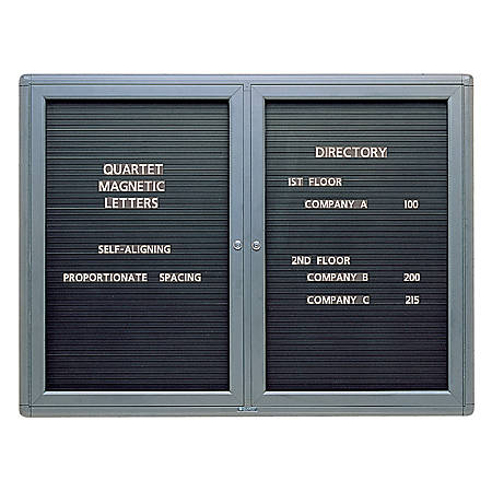 """Quartet® Enclosed Magnetic Letter Board, 48"""" x 36"""", Black"""