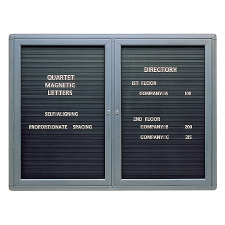 quartet enclosed magnetic letter board 48 x 36 black by office depot officemax