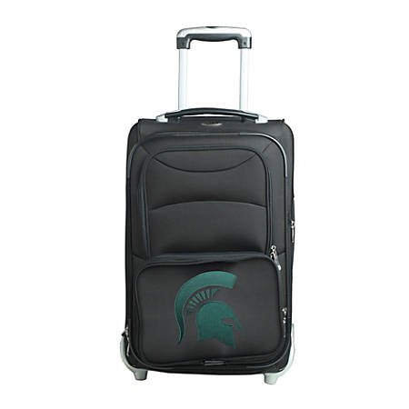 """Denco Sports Luggage NCAA Expandable Rolling Carry-On, 20 1/2"""" x 12 1/2"""" x 8"""", Michigan State Spartans, Black"""