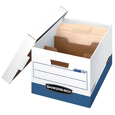 """Bankers Box® R-Kive® Dividerbox™ Storage Boxes, 15"""" x 12"""" x 10"""", 60% Recycled, White/Blue, Pack Of 4"""