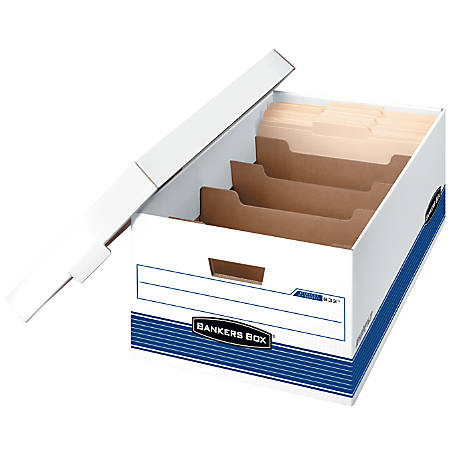 "Bankers Box® Stor/File™ Storage Boxes With Dividers, Legal, 24"" x 15"" x 10"", 60% Recycled, White/Blue, Pack Of 12"