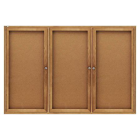 "Quartet® Fully-Enclosed Bulletin Board, 3-Door, 72"" x 48"", Natural Cork Board, Oak Frame"