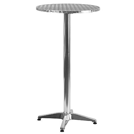 """Flash Furniture Round Folding Bar Table With Aluminum Base, 45"""" x 23-1/4"""", Silver"""
