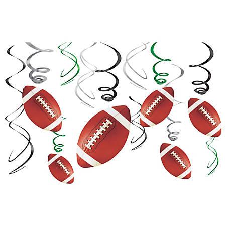 "Amscan Foil Football Value Pack Swirl Decorations, 7"", 4 Per Pack, Carton Of 12 Packs"