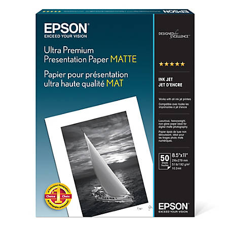 Epson® Archival Matte Photo Paper, 8 1/2