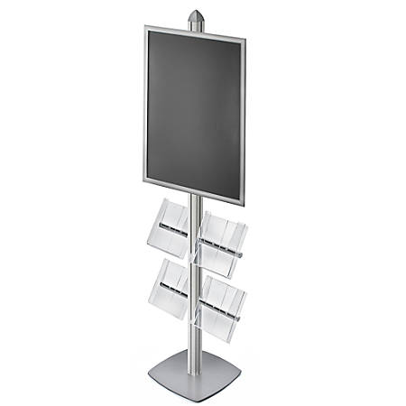 Azar Displays Sky Tower Display Kit With Snap Frame And 4 Acrylic Brochure Side Pockets, Silver