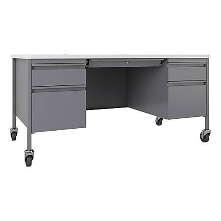 Lorell™ Fortress Laminate Double-Pedestal Mobile Teacher's Desk, Platinum/White