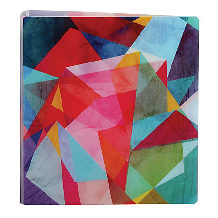 """Office Depot® Brand EverBind™ D-Ring View Binder, 1 1/2"""" Rings, Geometric Watercolor"""
