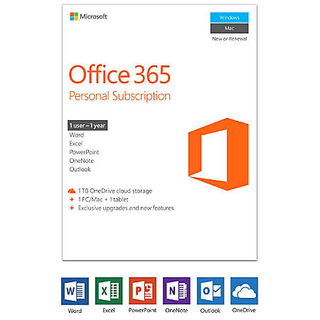Office 365 Personal, 1-Year Subscription, For PC And Apple® Mac®, Product Key Card