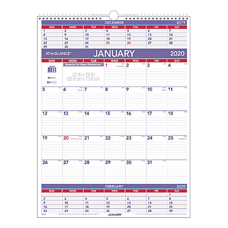 "AT-A-GLANCE® 3-Month Reference Monthly Wall Calendar, 22"" x 29"", January To December 2020, PM1028"