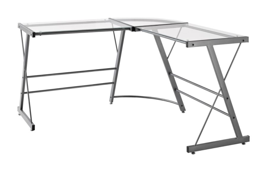 Altra Glass L Shaped Computer Desk Gray by Office Depot OfficeMax