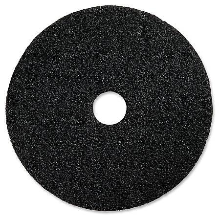 "Genuine Joe Black Floor Stripping Pad - 16"" Diameter - 5/Carton x 16"" Diameter x 1"" Thickness - Resin, Fiber - Black"