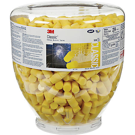 E-A-R Classic Earplugs - 1000 / Bottle - Yellow - Polyurethane Foam - Medium
