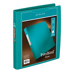 Everbind view d ring binders by inplace 1 rings teal by for Depot ringcenter