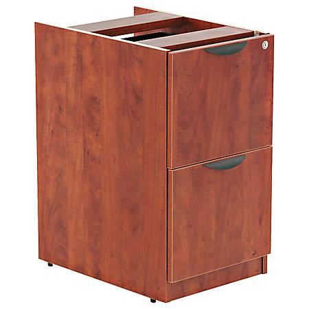 "Alera® Valencia Series 2-File Drawer Full Pedestal, 28""H x 16""W x 22""D, Medium Cherry"