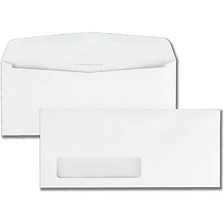 "Quality Park #10 Park Ridge Window Envelopes - Single Window - #10 - 4 1/8"" Width x 9 1/2"" Length - 24 lb - Gummed - Poly - 500 / Box - White"