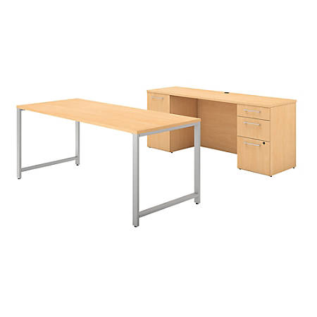"""Bush Business Furniture 400 Series Table Desk And Credenza With File Drawers, 72""""W x 30""""D, Natural Maple, Standard Delivery"""
