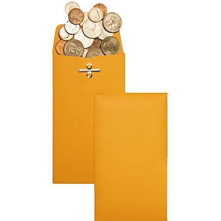 "Quality Park® Clasp Envelopes, #10 (3 3/8"" x 6""), Brown, Box Of 100"