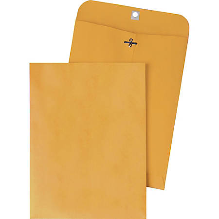 "Quality Park Gummed Kraft Clasp Envelopes - Clasp - #94 - 9 1/4"" Width x 14 1/4"" Length - 28 lb - Gummed - Kraft - 100 / Box - Kraft"