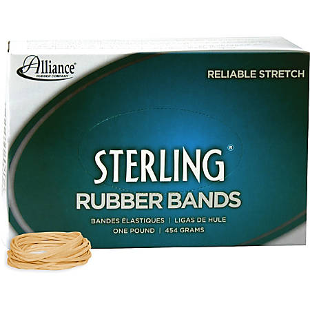 "Alliance Rubber 24145 Sterling Rubber Bands - Size #14 - Approx. 3100 Bands - 2"" x 1/16"" - Natural Crepe - 1 lb Box"