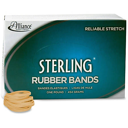 "Alliance Rubber 24305 Sterling Rubber Bands - Size #30 - Approx. 1500 Bands - 2"" x 1/8"" - Natural Crepe - 1 lb Box"