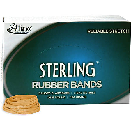 """Alliance Rubber 24315 Sterling Rubber Bands - Size #31 - Approx. 1200 Bands - 2 1/2"""" x 1/8"""" - Natural Crepe - 1 lb Box"""
