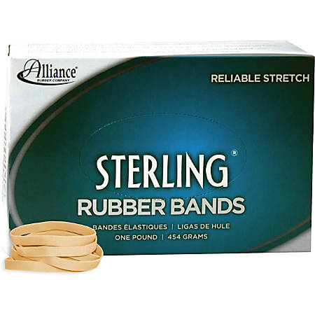 "Alliance Rubber 24625 Sterling Rubber Bands - Size #62 - Approx. 600 Bands - 2 1/2"" x 1/4"" - Natural Crepe - 1 lb Box"