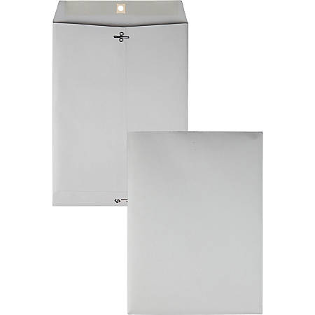"Quality Park® Gray Clasp Envelopes, 9"" x 12"", Gray, Box Of 100"