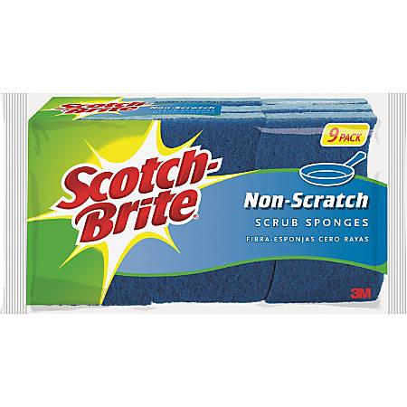 Scotch-Brite™ Non-Scratch Scrub Sponges, Blue, Pack Of 9
