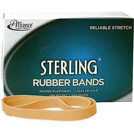 "Alliance Rubber 25055 Sterling Rubber Bands - Size #105 - Approx. 70 Bands - 5"" x 5/8"" - Natural Crepe - 1 lb Box"