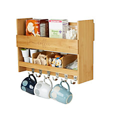 Mind Reader Bamboo Coffee Rack Shelf
