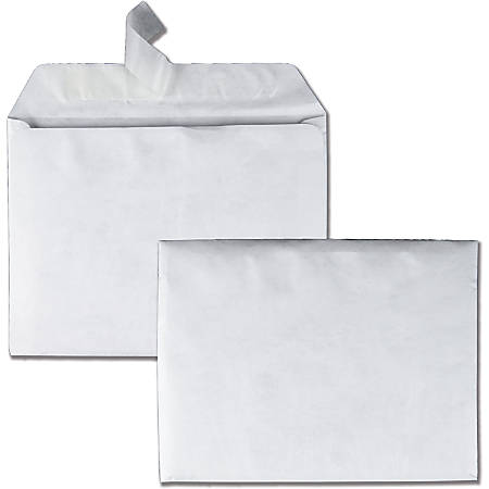 "Quality Park Tyvek Plain Booklet Envelopes - Catalog - #9 1/2 - 9"" Width x 12"" Length - 14 lb - Self-sealing - Tyvek - 100 / Box - White"