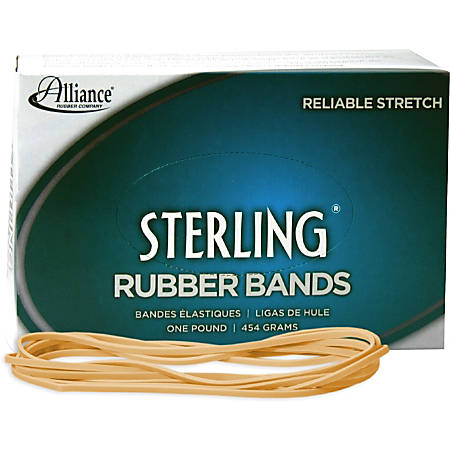 """Alliance Rubber 25405 Sterling Rubber Bands - Size #117B - Approx. 250 Bands - 7"""" x 1/8"""" - Natural Crepe - 1 lb Box"""
