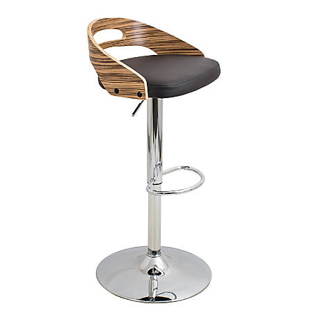 Lumisource Cassis Bar Stool, Zebra/Brown/Chrome