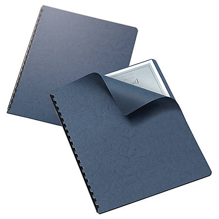 "Office Depot® Brand Grain Embossed Paper Binding Covers, 8 3/4"" x 11 1/4"", Navy, Pack Of 25"