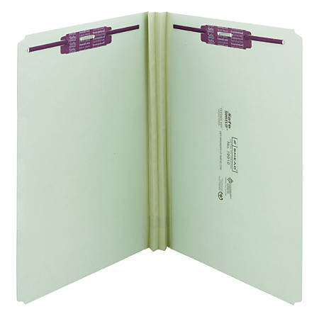 """Smead® Pressboard Fastener Folders With SafeSHIELD® Coated Fasteners, 2"""" Expansion, Legal Size, 60% Recycled, Gray/Green, Box Of 25"""