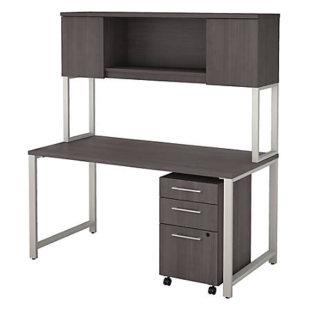 "Bush Business Furniture 400 Series 60""W x 30""D Table Desk with Hutch and 3 Drawer Mobile File Cabinet, Storm Gray, Premium Installation"