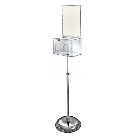 """Azar Displays Plastic Suggestion Box, Adjustable Pedestal Floor Stand, With Lock, Large, 6 1/4""""H x 9""""W x 6 1/4""""D, Clear"""