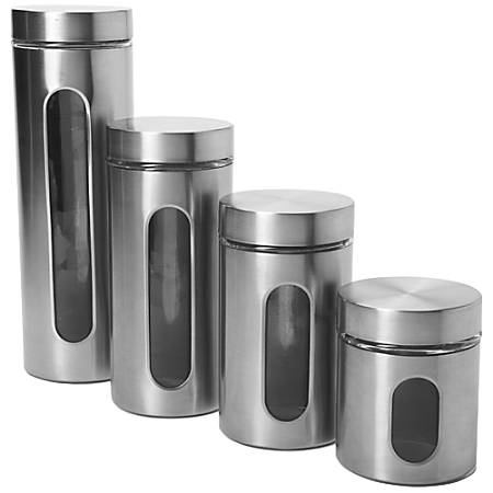 Anchor Hocking 4 Pc. Palladian Brushed S/S Window Cylinder Set - 24 fl oz Food Canister, 1.1 quart Food Canister, 1.4 quart Food Canister, 2 quart Food Canister - Stainless Steel