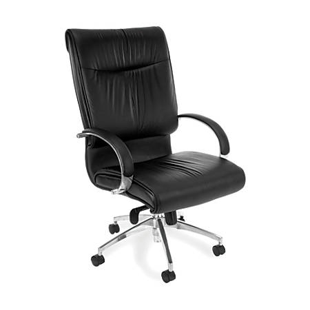 OFM Sharp Series Leather High-Back Chair, Black/Silver