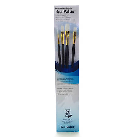 Princeton Real Value Series 9000 Brush Set, 9130, Assorted Bristles, Synthetic, Set Of 4, Blue