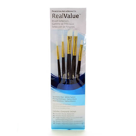 Princeton Real Value Series 9000 Brush Set, 9136, Assorted Bristles, Synthetic, Set Of 5, Blue