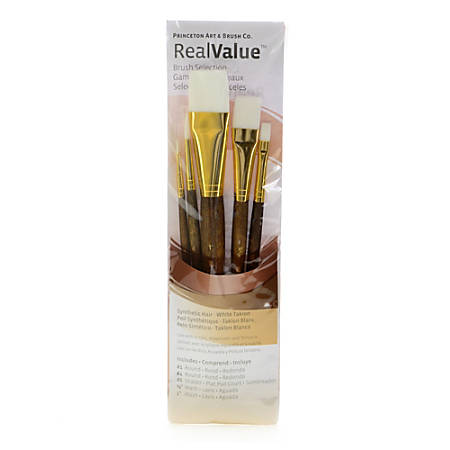 Princeton Real Value Series 9000 Brush Set 9144, Assorted Bristles, Synthetic, Brown, Set Of 5
