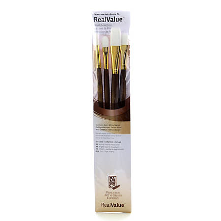 Princeton Real Value Series 9000 Brush Set 9147, Assorted Bristles, Synthetic, Brown, Set Of 4