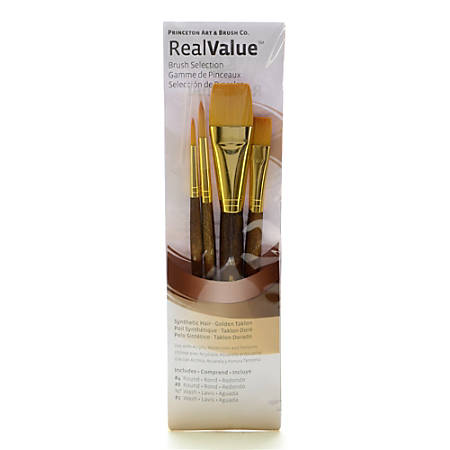 Princeton Real Value Series 9000 Brush Set 9146, Assorted Bristles, Synthetic, Brown, Set Of 4