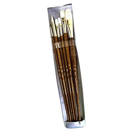 Princeton Real Value Series 9000 Brush Set 9148, Assorted Bristles, Synthetic, Brown, Set Of 6