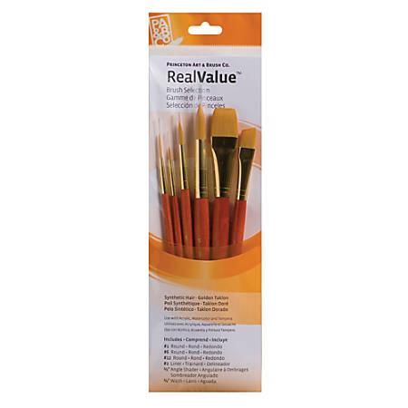 Princeton Real Value Series 9000 Brush Set 9153, Assorted Bristles, Synthetic, Orange, Set Of 6