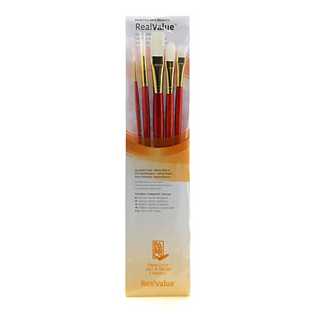 Princeton Real Value Series 9000 Brush Set 9155, Assorted Bristles, Synthetic, Orange, Set Of 5