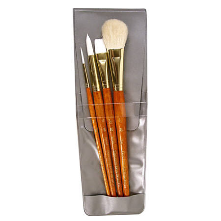 Princeton Real Value Series 9000 Brush Set 9151, Assorted Bristles, Synthetic, Orange, Set Of 4