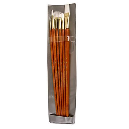 Princeton Real Value Series 9000 Brush Set 9156, Assorted Bristles, Synthetic, Orange, Set Of 6